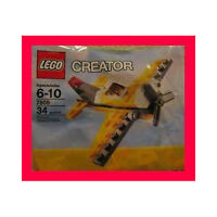 Lego Creator Airplane Yellow & Black 34pcs 7808 Factory Sealed