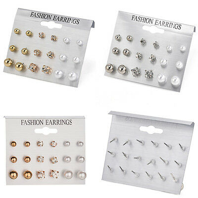 9 Pair Fashion Rhinestone Crystal Pearl Earrings Set Women Ear Stud Jewelry Gift