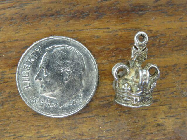 Vintage silver ENGLAND ENGLISH KING QUEEN CROWN PENDANT BRACELET charm #5