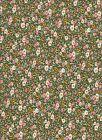 Fat Quarter - Green / Pink / Cream Floral Cotton