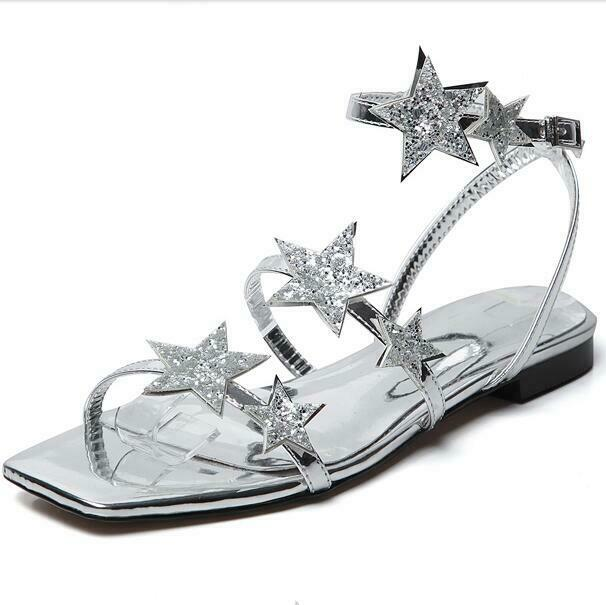 donna Square Open Toe Slingback Star Shining Ankle Strap Strap Strap Flats Beach Sandals sz 9f9445