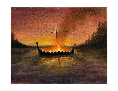 Germanic Viking Norse Pagan God Odin Sky War Painting 8x10 Canvas Art Print