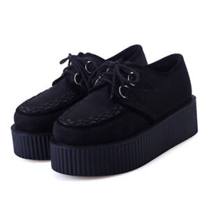 Fashion-Women-Creepers-Platform-Shoes-Suede-Lace-up-Thick-Soles-Chunky-Pumps