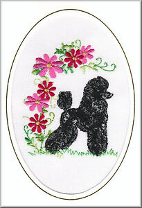 Poodle Birthday Card or Notecard Embroidered by Dogmania