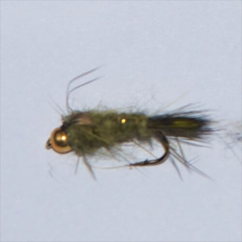 BH OLIVE GOLD RIBBED HARES EAR NYMPH Wet Trout Fishing Flies various options