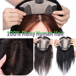 TOP-MONO-Base-Handmade-100-Human-Hair-Topper-Hairpiece-Women-Long-Wiglet-US-RW