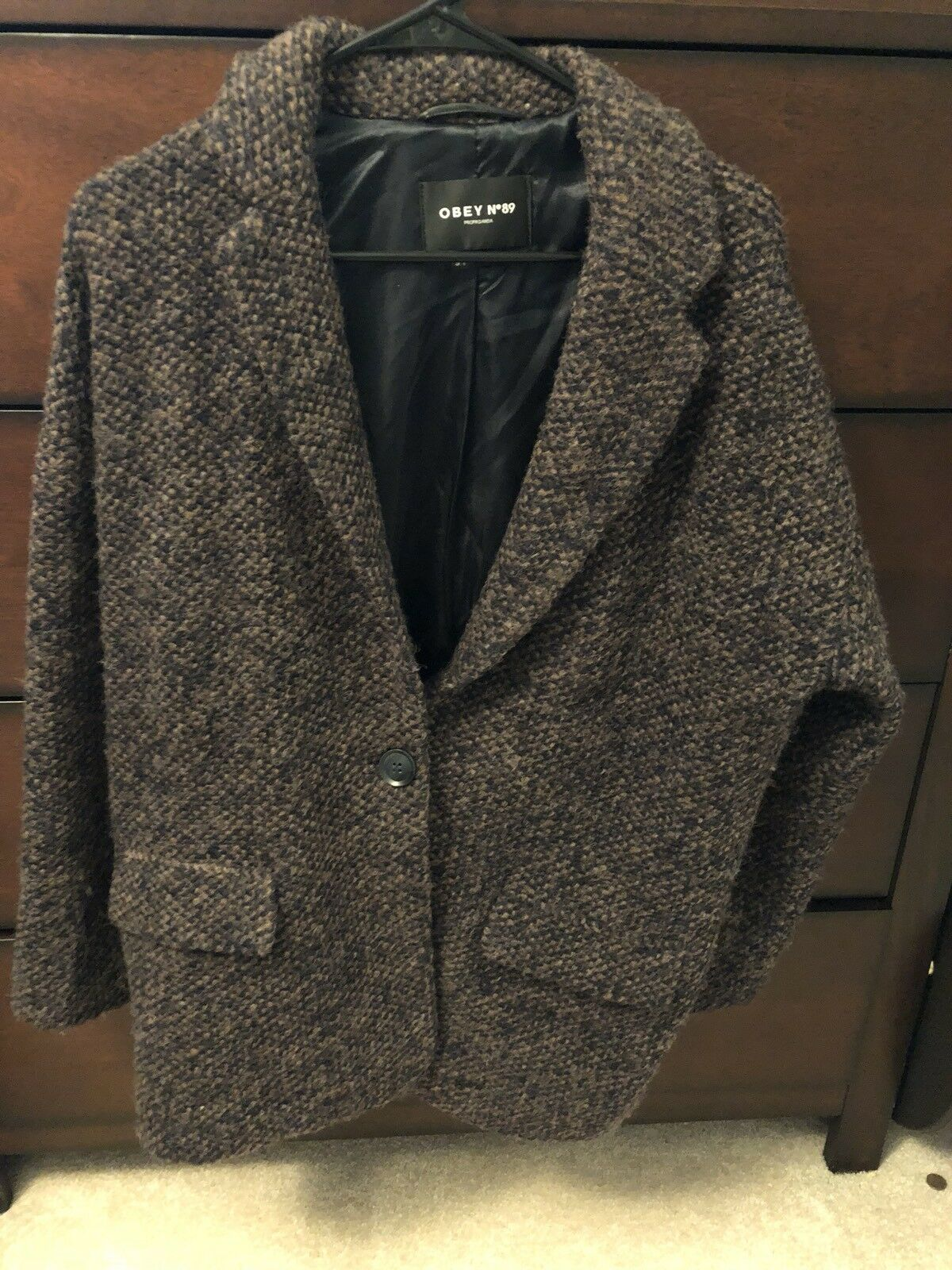 Obey Women's N89 Knit Wool Sweater Cardigan Brown Size S Small
