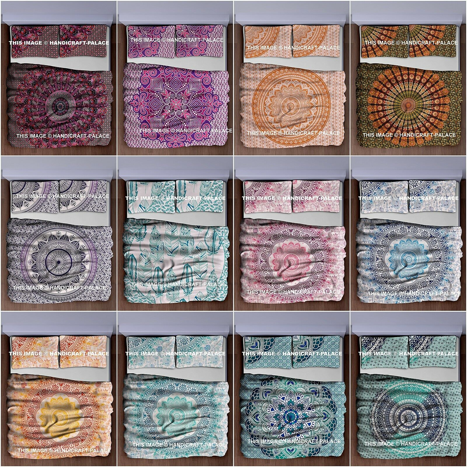 Indian Ombre Mandala Queen Size Bedding Set Hippie Bed Sheet Tapestry Boho Throw