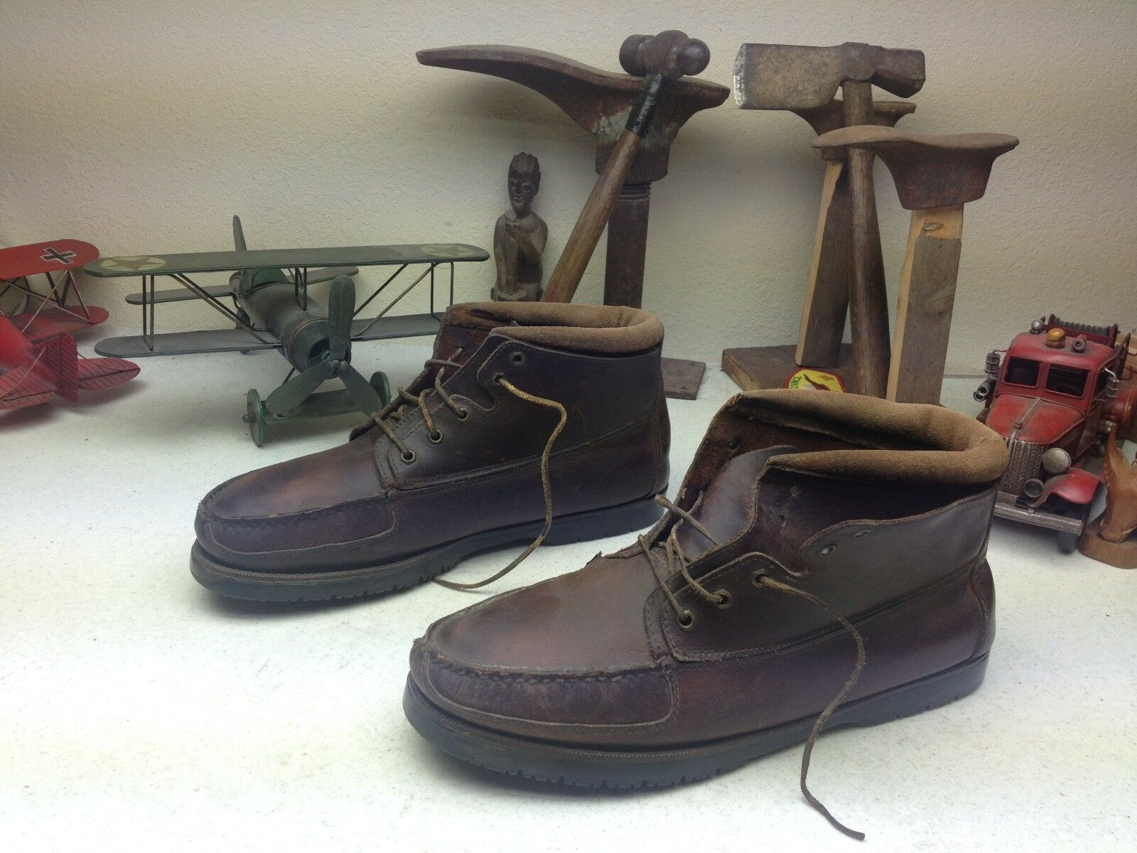 Vintage in aperta campagna brown angosciato ingegnere packer capo stivali 12 s