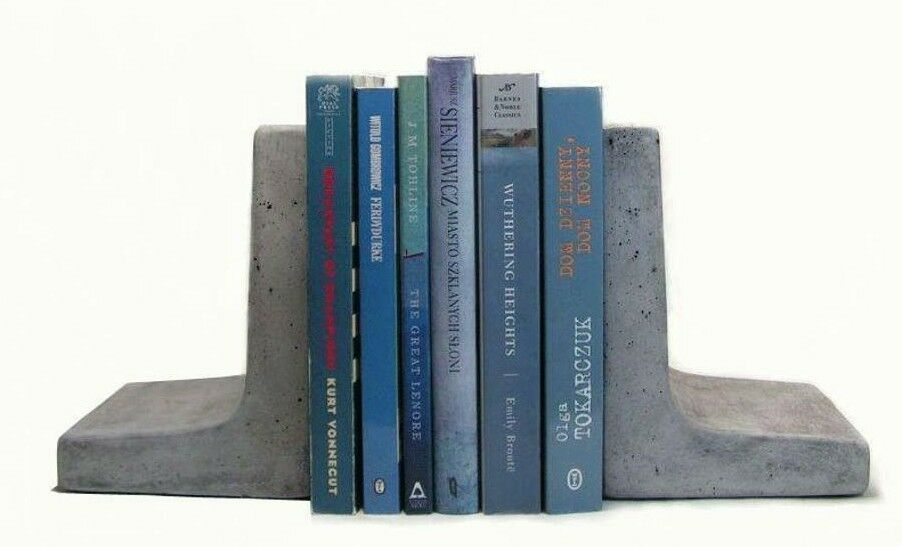 Modern Concrete Bookends (Set of 2)   Heavy Bookends  Office Bookends Book Stand