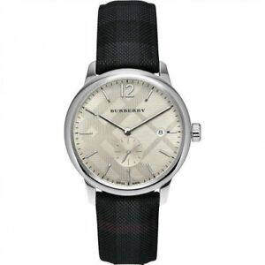 Burberry Men's Check Stamped Round Dial Watch Leather Band 40mm BU10008 NIB