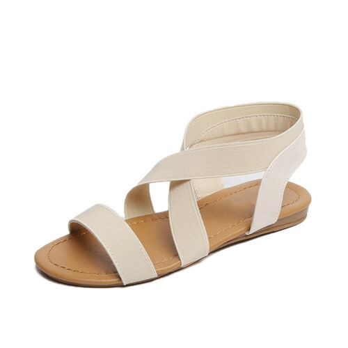Womens Flat Low Dresses Heel Strappy Sandals Dress Summer Ankle Shoe Comfortable