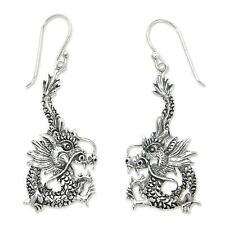 Silver Dangle Earrings Sterling 925 Handmade 'Dragon Splendor' NOVICA Bali