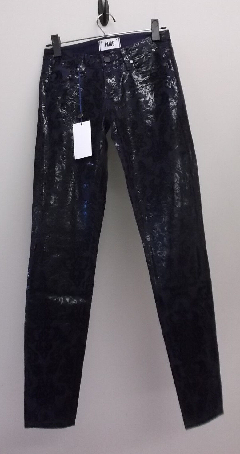 NWT PAIGE VERDUGO ULTRA SKINNY LOW RISE FLORAL COATED STRETCH JEANS NEW Größe 25
