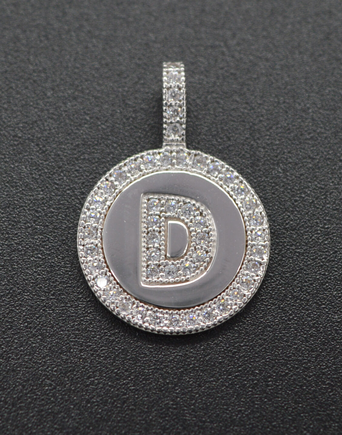 PM45 Created Diamond Round Cut Initial Letter D Pendent .25ct 14K White gold