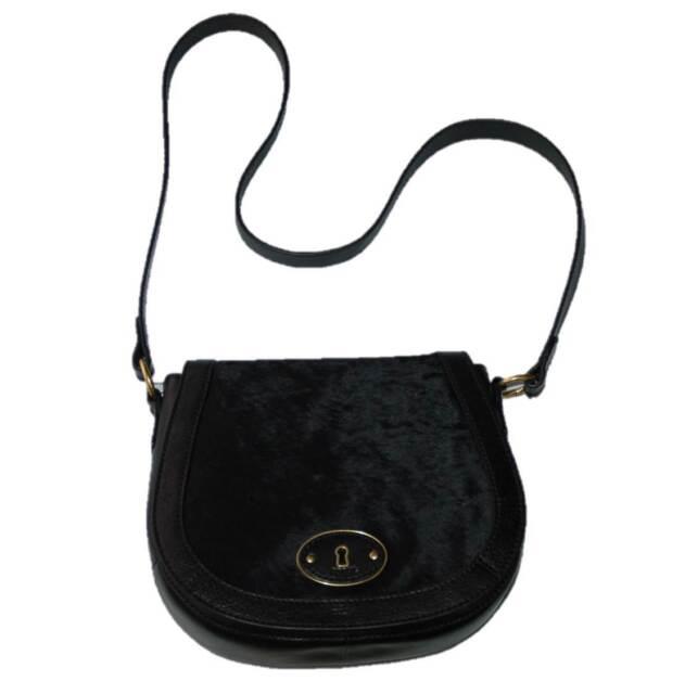 b561c4aee6f0 WOMEN S FOSSIL BLACK LEATHER CALF HAIR VRI CROSS BODY SHOULDER BAG PURSE ...