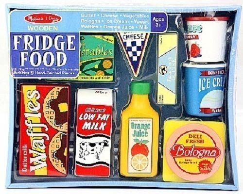 Melissa & Doug Let's Play House! Wooden Fridge Food Set #4076  New