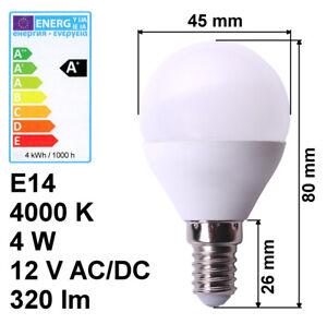 LED-Lampe-E14-12V-4W-A-neutralweiss-4000K-320lm-Birne-Energiesparlampe-Volt