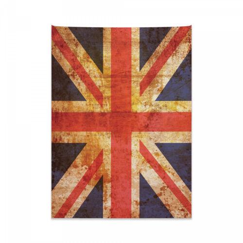 England Wandteppich und Tagesdecke Union Jack Motiv Grunge Druck