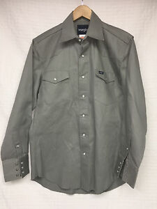 Men-039-s-WRANGLER-Gray-Long-Sleeve-Snaps-Shirt-Medium-double-chest-pockets