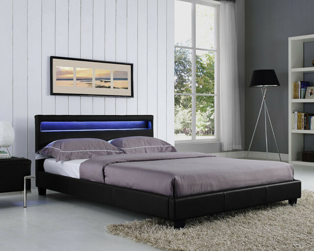 the latest 0ab0f b7177 Double Size Bed Frame LED Headboard Night Light in Black Stylish Design