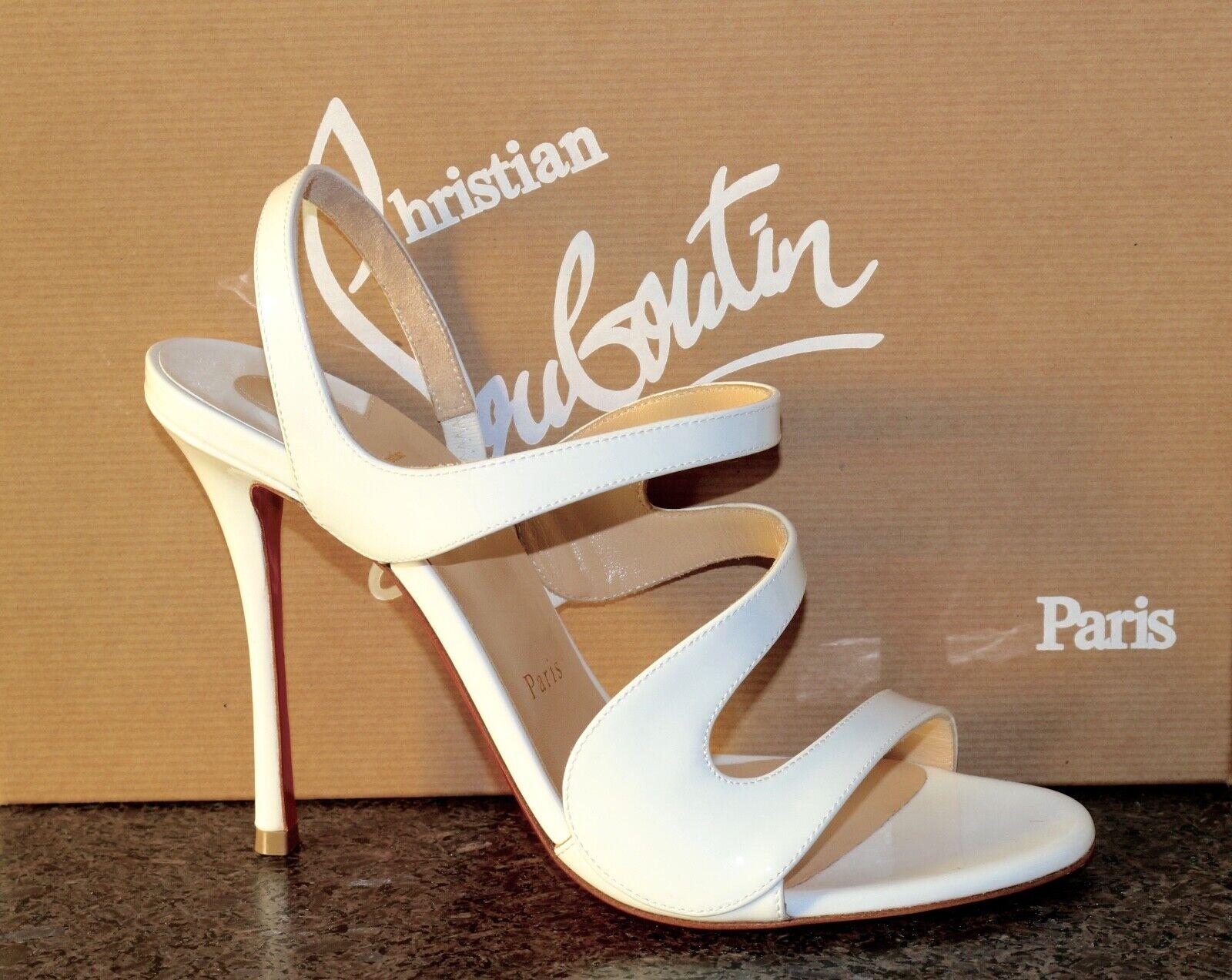 NIB Christian Louboutin VAVAZOU 100 WHITE PATENT STRAPPY SANDAL Pump shoes 38.5