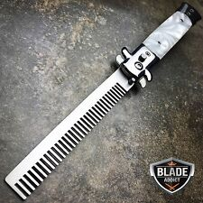 Automatic Push Button Folding Comb Switchblade Knife Looking Brush White Pearl