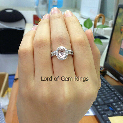 Wedding Ring Sets!Oval 6x8mm Morganite Diamonds Engagement Ring,14K White Gold