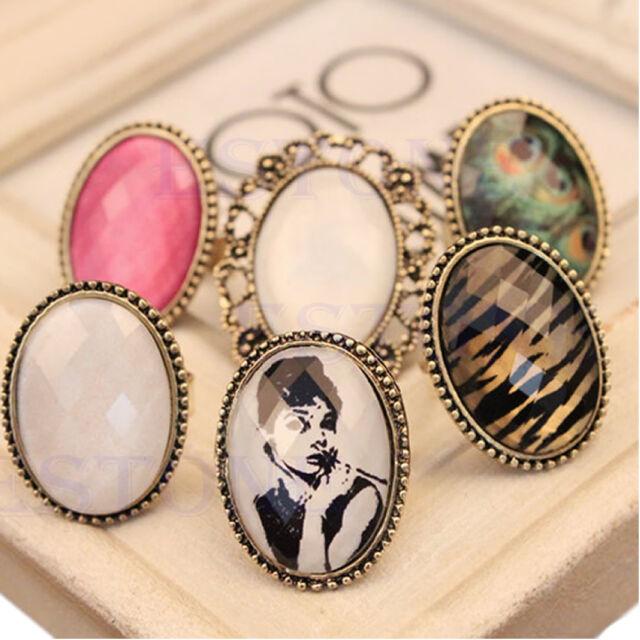 Hot Retro Style Big Rhinestone Ring Vintage Stone Fashion Girl New 6 Colors