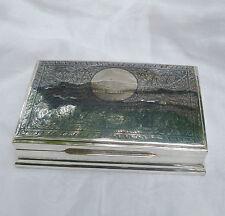 Sterling Silver Burl Wood Cigarette Box Case Niello Siam Vintage