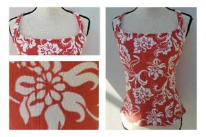 Lands-End-Womens-Swim-Tankini-Top-Underwire-Sz-12-Coral-Floral-Paisley-Short