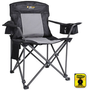 OZTRAIL-ZEUS-300kg-RATING-Folding-Portable-Camping-Picnic-Arm-Chair
