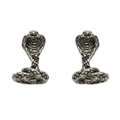 SE964 Sterling Silver Cobra Stud Earrings