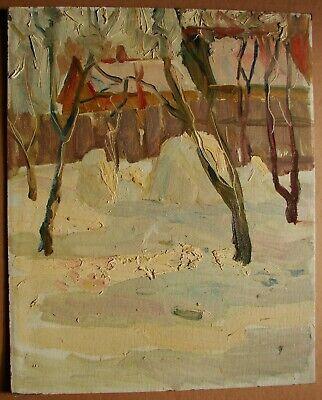 Skyscape Miniature ANTIQUE ORIGINAL Oil PAINTING by Soviet Ukrainian artist V.Belyak Town in mountains Impressionist Landscape 1960s