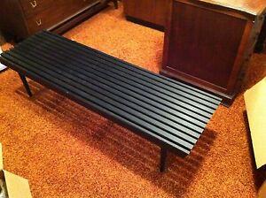Superb Details About Mid Century Modern Black Dressing Bench Spiritservingveterans Wood Chair Design Ideas Spiritservingveteransorg