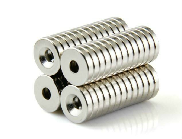 20PC N50 Strong Countersunk Ring Magnets 12 x 3 mm Hole 3mm Rare Earth Neodymium