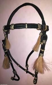 Western Raw-hide Braid One-ear Headstall//bridle Rawhide Futurity Hair Knot RH127