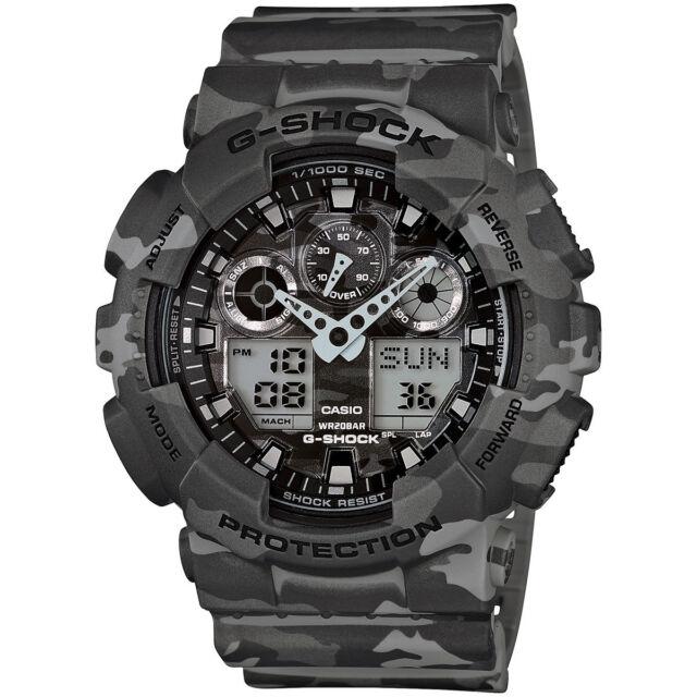 Casio G-Shock Mens Watch GA100CM-8A GA-100CM-8ADR Analog Digital Camouflage Grey