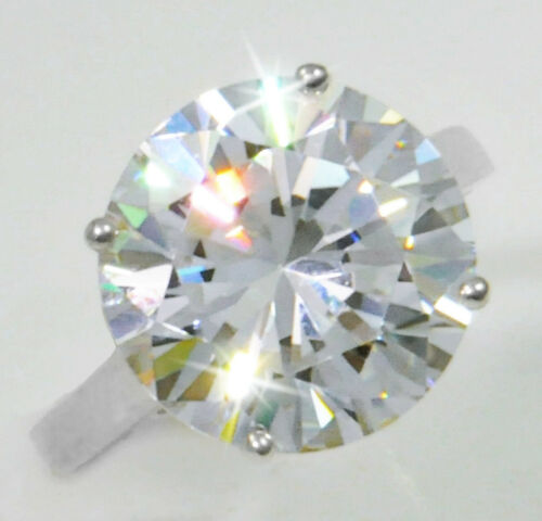 4 ct Round Ring Vintage Brilliant Top Russian CZ Moissanite Simulant Size 8