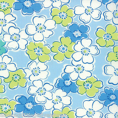 MODA Fabric ~ GIGGLES~ by Me & My Sister (22202 14)  Blue  - by 1/2 yard