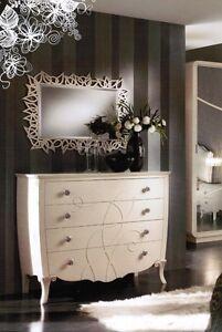 Como 39 con 2 comodini piu 39 specchio avorio con rilievi anche altri colori ebay - Comodini a specchio ...