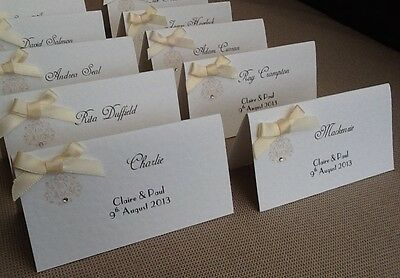 10 x Handmade Personalised Vintage Style Name Place Cards - wedding