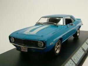 Chevrolet-Camaro-Yenko-1969-azul-casi-amp-Furious-coche-modelo-1-43-GreenLight