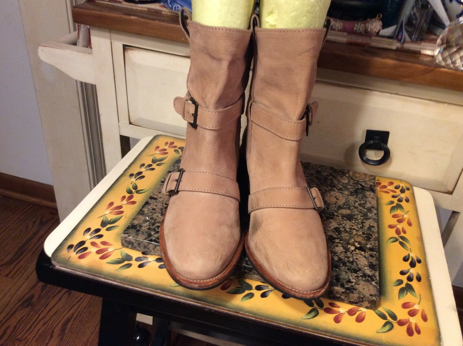 Cole Haan Women's Ankle Boots Beige leather pull- on buckle detail Size 6.5M