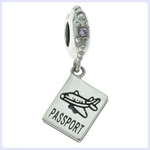 Argent Sterling Avion Voyage Passeport violet CZ perle de charme européen bracelet