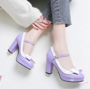 New-Mary-Jane-Women-039-s-Platform-Sweet-Buckle-High-Block-Heel-Bowknot-Pumps-Shoes