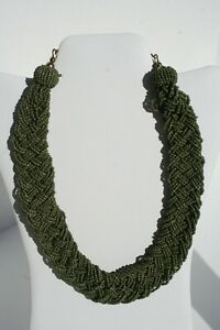 Braided-Wide-Multi-Strand-Glass-Seed-Bead-Vintage-Green-18-20-034-Collar-Necklace