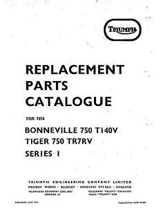Triumph Parts Manual Book 1974 Bonneville 750 T140v Series 1 Ebay