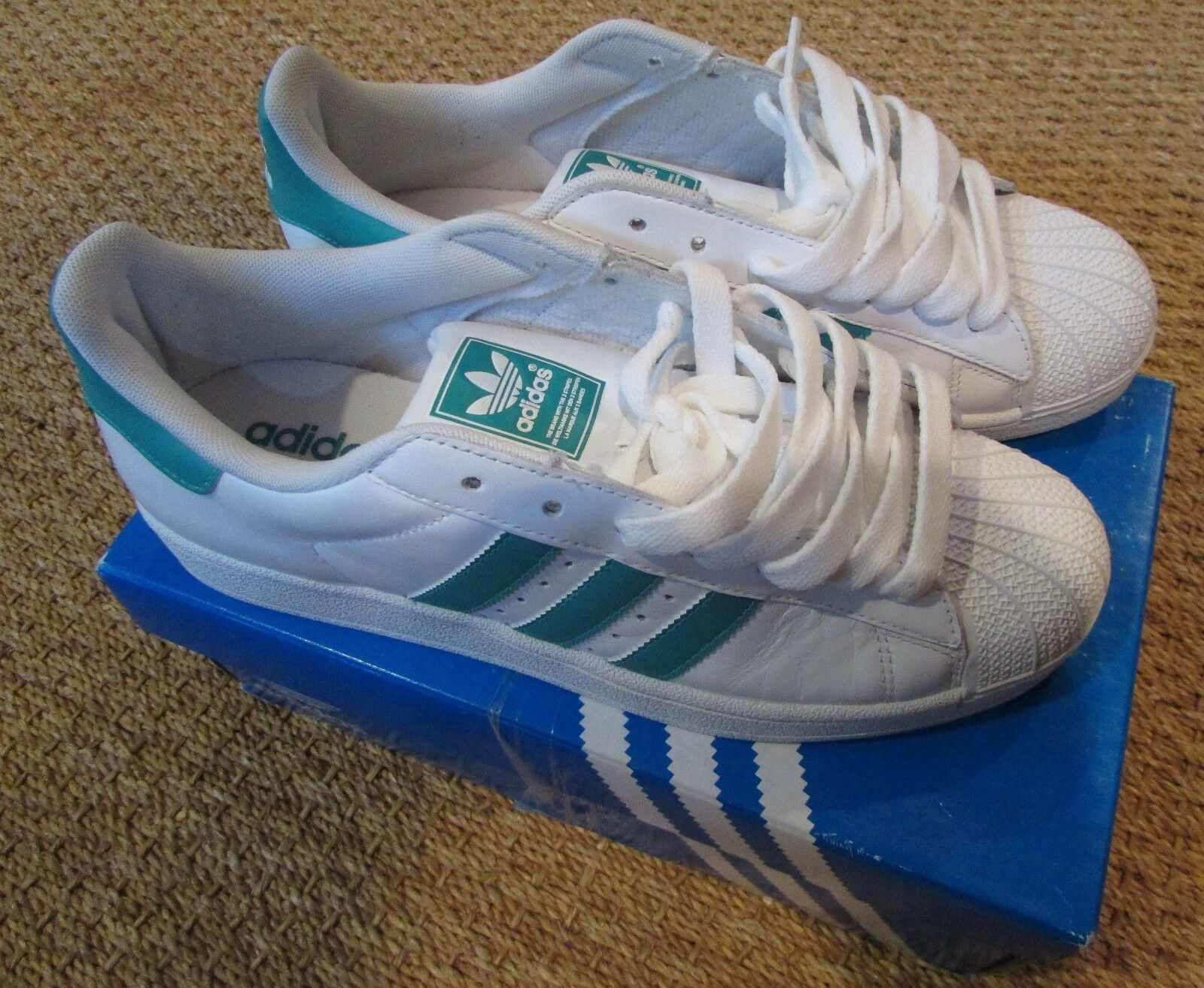 Adidas Superstar II Sneakers Athletic Shoes White Aero Reef Original Box Sz 8.5