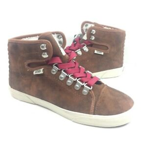 5b2f12efe8 NEW Vans Women s Hadley Hiker Boots Shoes Brown Red Sneakers Size 5 ...